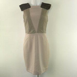 Yigal Azrouel Beige Beaded Strap Dress Size 6